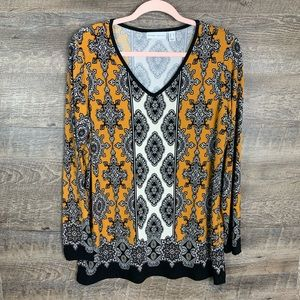 Susan Graver Patterned Mustard Yellow V-neck Top M